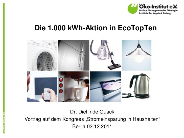 """Die 1.000 kWh-Aktion in EcoTopTen                   Dr. Dietlinde QuackVortrag auf dem Kongress """"Stromeinsparung in Hausha..."""