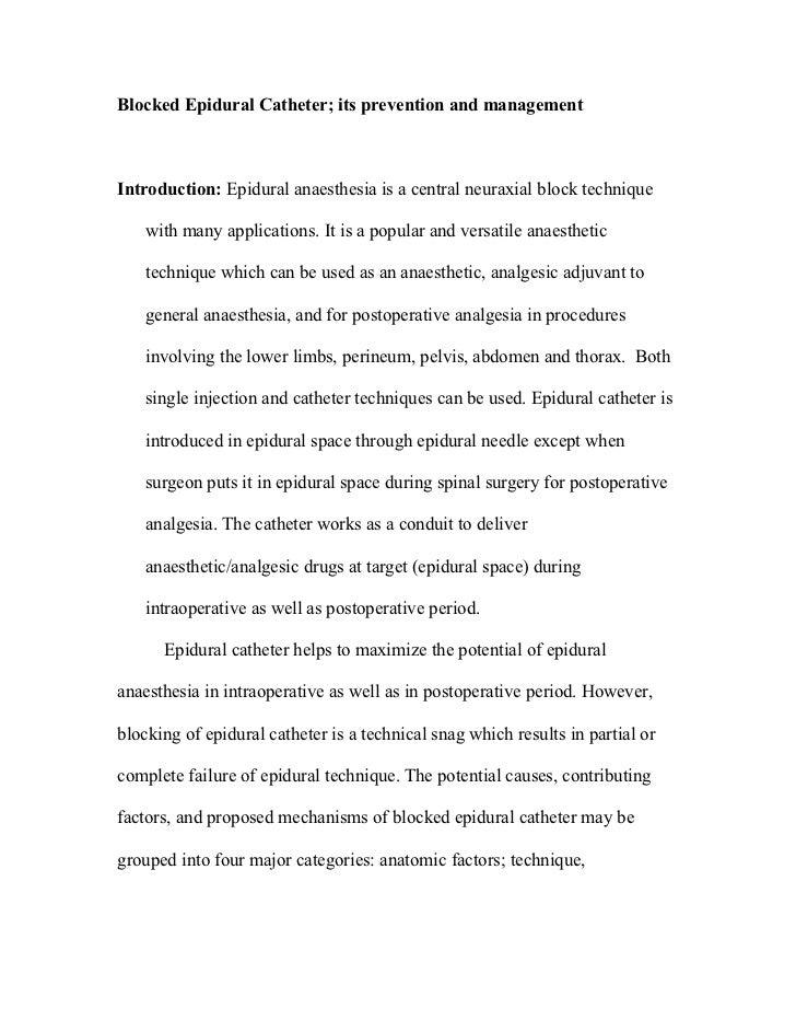 Blocked Epidural Catheter