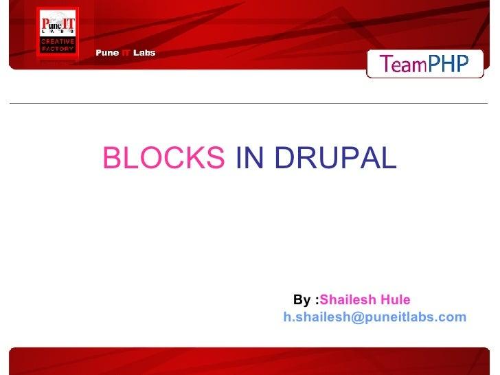 BLOCKS   IN DRUPAL By : Shailesh Hule [email_address]