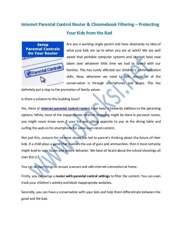 Internet Parental Control Router & Chromebook Filtering
