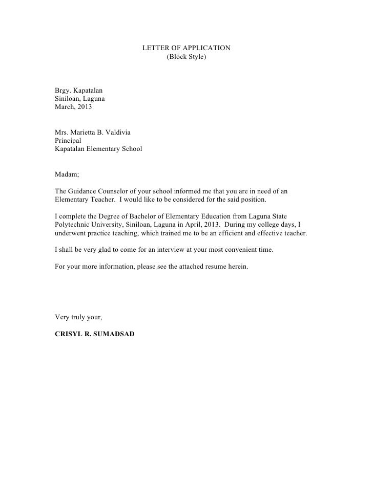 application letter style
