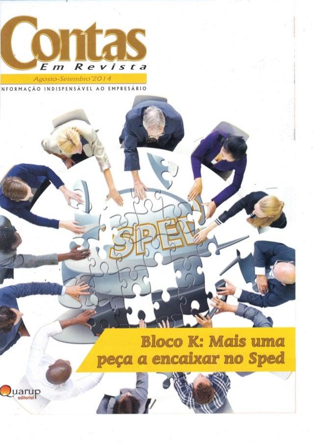 Bloco K da EFD: As empresas não estão prontas - Revista CONTAS ago-set-2014 - edgar madruga