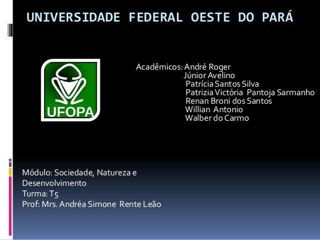 UNIVERSIDADE FEDERAL OESTE DO PARÁ                            Acadêmicos: André Roger                                     ...