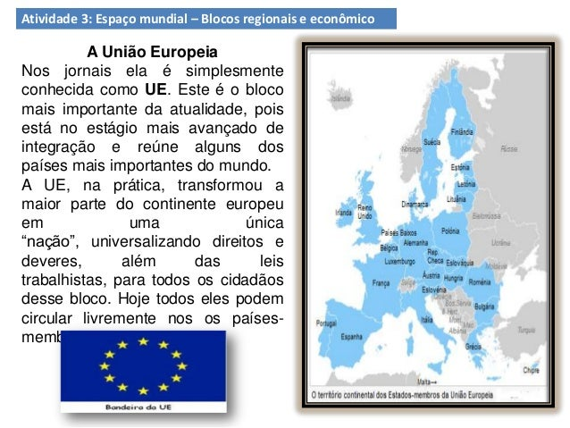 Atividade 3: Espaço mundial – Blocos regionais e econômico A União Europeia Nos jornais ela é simplesmente conhecida como ...