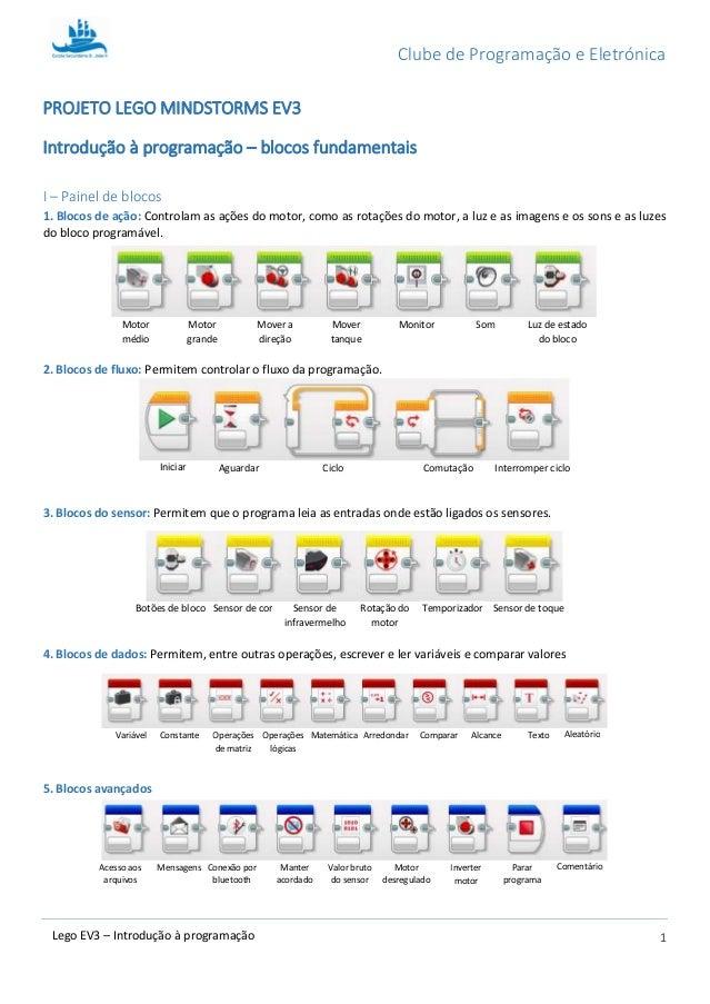 Clube de Programação e Eletrónica 1Lego EV3 – Introdução à programação PROJETO LEGO MINDSTORMS EV3 Introdução à programaçã...