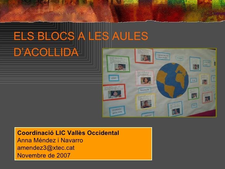 ELS BLOCS A LES AULES D'ACOLLIDA   Coordinació LIC Vallès Occidental Anna Méndez i Navarro [email_address] Novembre de 2007