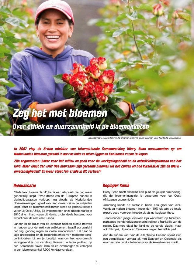 """1 Ecuadoriaanse arbeidster in de bloemensector © Sean Garrison voor Fairtrade International """"Nederland bloemenland"""", het i..."""