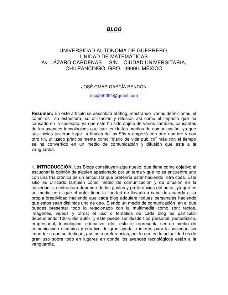 BLOG<br />UNIVERSIDAD AUTÓNOMA DE GUERRERO,                          UNIDAD DE MATEMÁTICAS                                ...