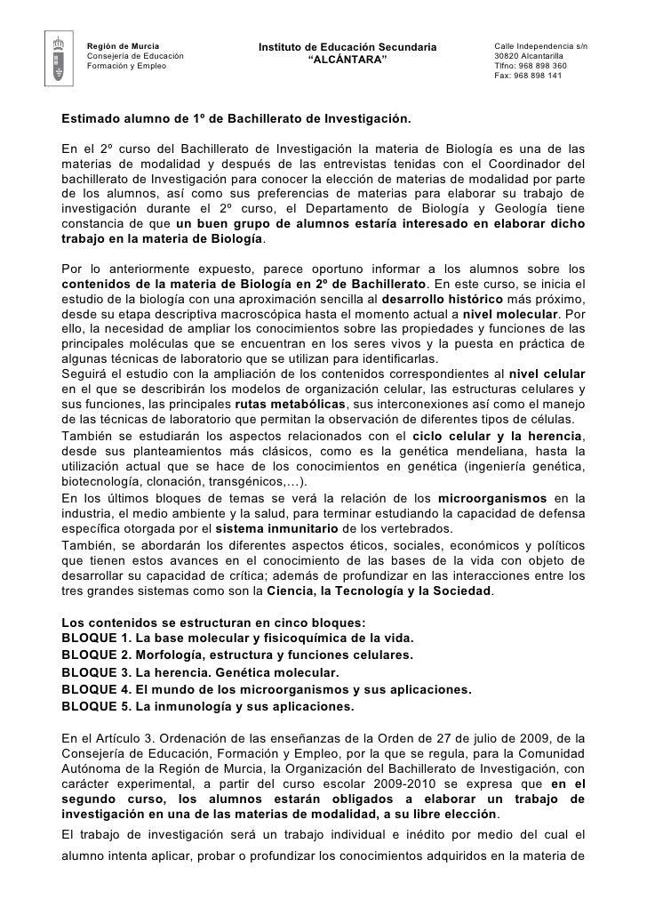 Región de Murcia             Instituto de Educación Secundaria        Calle Independencia s/n    Consejería de Educación  ...