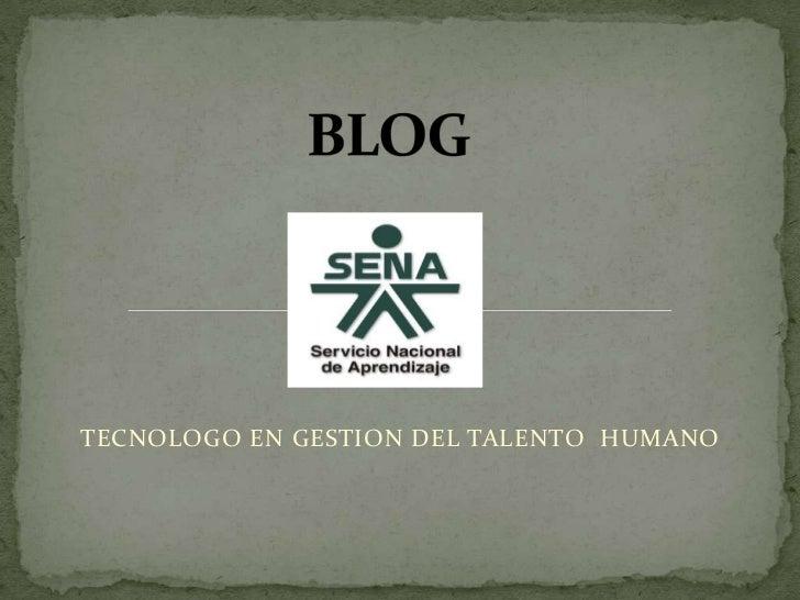 BLOG<br />TECNOLOGO EN GESTION DEL TALENTO  HUMANO <br />