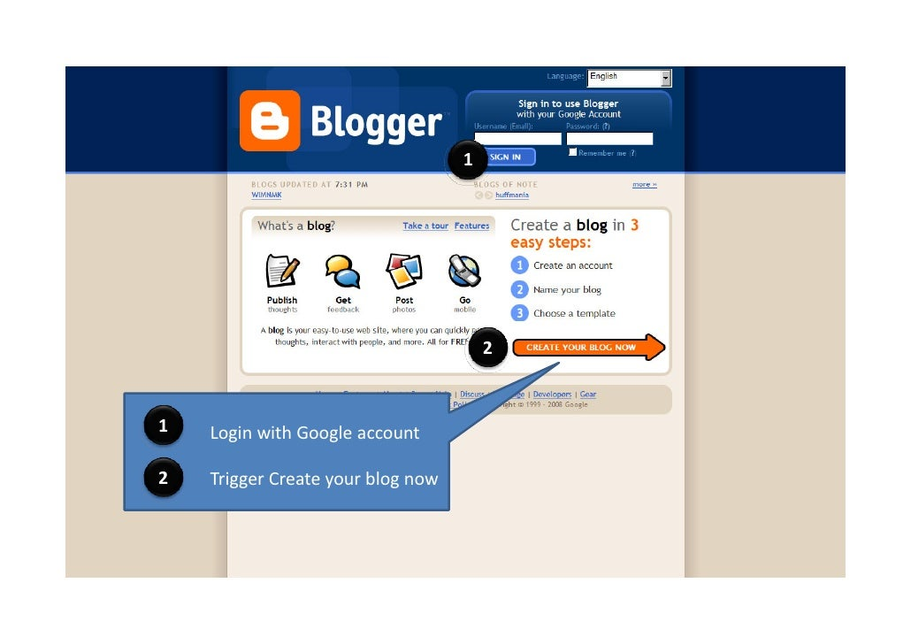 1                                            2    1   Login with Google account  2   Trigger Create your blog now
