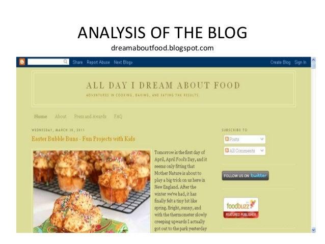 ANALYSIS OF THE BLOGdreamaboutfood.blogspot.com