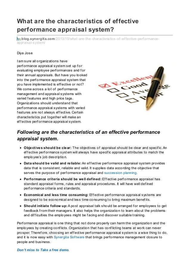 characteristics of an effective perform