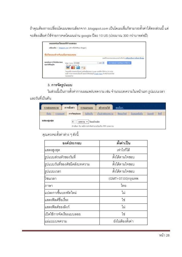 หน้า 28 ถ้าคุณต้องการเปลี่ยนโดเมนของบล็อกจาก .blogspot.com เป็นโดเมนอื่นก็สามารถตั้งค่าได้ตรงส่วนนี้ แต่ จะต้องเสียค่าใช้จ...