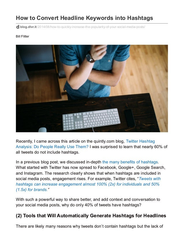 how to automatically convert title keywords into hashtags to improve