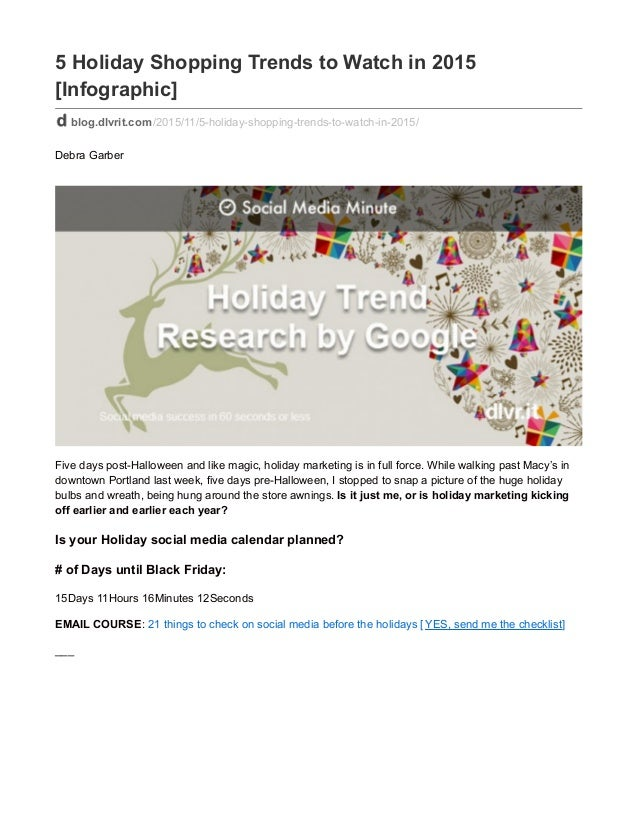 5 Holiday Shopping Trends to Watch in 2015 [Infographic] blog.dlvrit.com/2015/11/5-holiday-shopping-trends-to-watch-in-201...