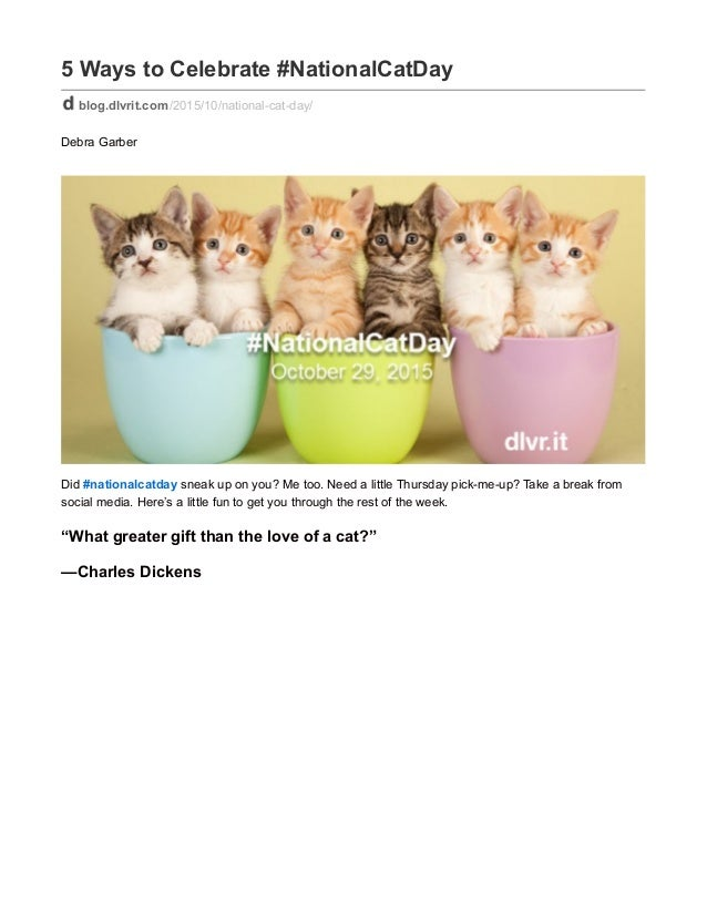 5 Ways to Celebrate #NationalCatDay blog.dlvrit.com/2015/10/national-cat-day/ Debra Garber Did #nationalcatday sneak up on...
