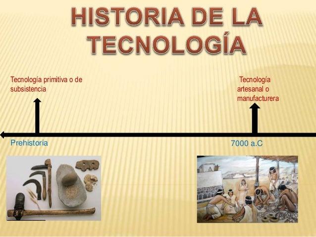 Prehistoria Tecnología primitiva o de subsistencia 7000 aC Tecnología artesanal o manufacturera