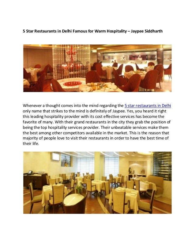 5 Star Restaurants In Delhi Jaypee Siddharth