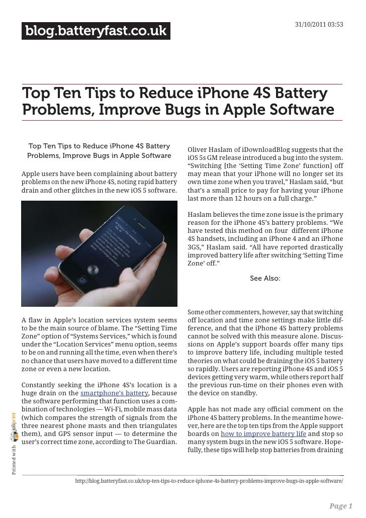 31/10/2011 03:53                 blog.batteryfast.co.uk                Top Ten Tips to Reduce iPhone 4S Battery           ...