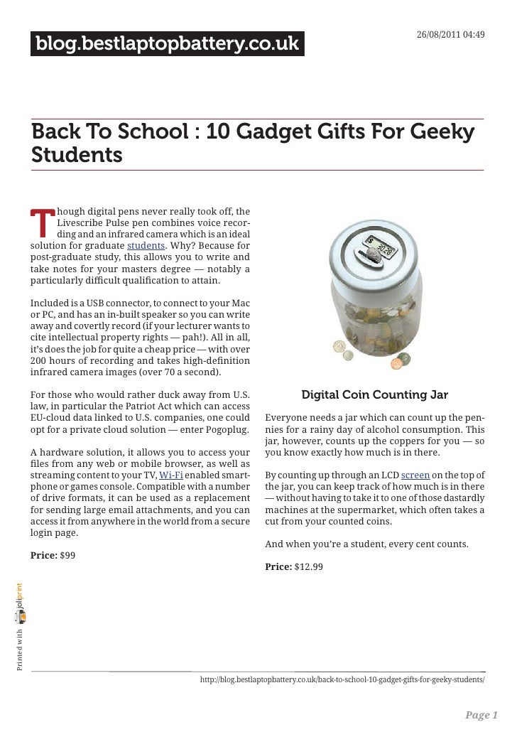 26/08/2011 04:49                 blog.bestlaptopbattery.co.uk                Back To School : 10 Gadget Gifts For Geeky   ...