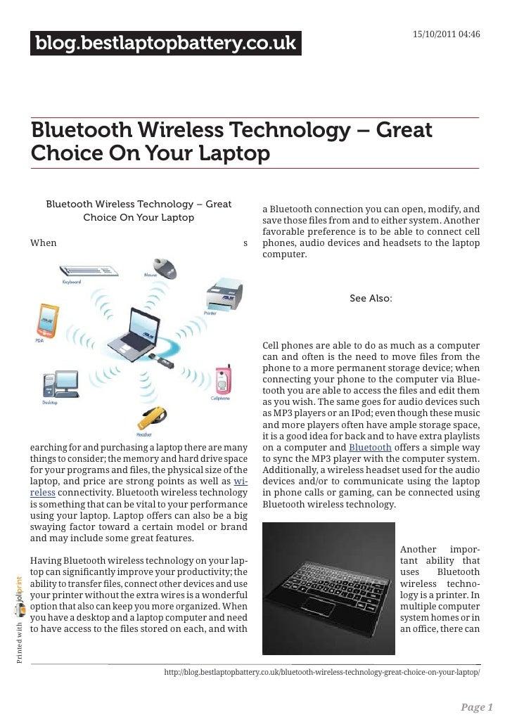 15/10/2011 04:46                 blog.bestlaptopbattery.co.uk                Bluetooth Wireless Technology – Great        ...