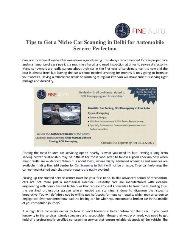 Tips to Get a Niche Car Scanning in Delhi for Automobile Service Perf…