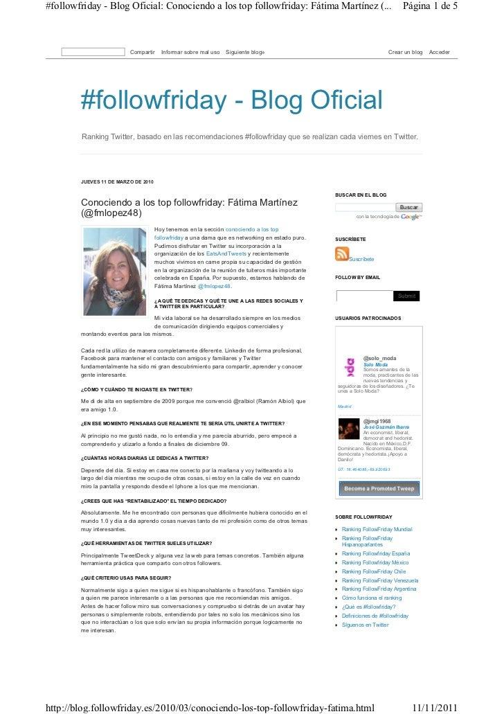 #followfriday - Blog Oficial: Conociendo a los top followfriday: Fátima Martínez (...                                     ...