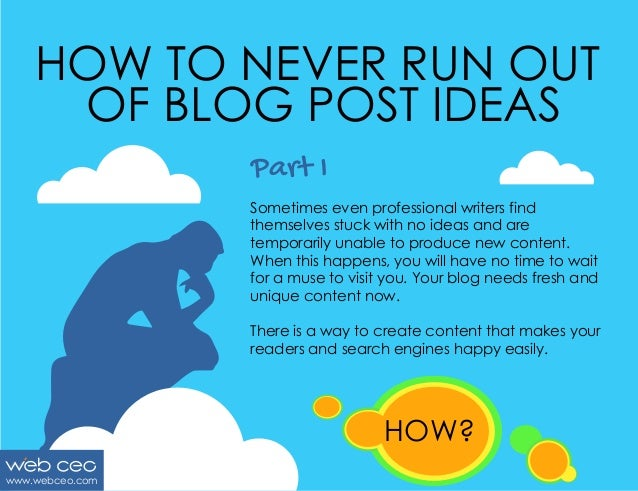 HOW TO NEVER RUN OUT OF BLOG POST IDEAS Part I Sometimes even professional writers find themselves stuck with no ideas and...