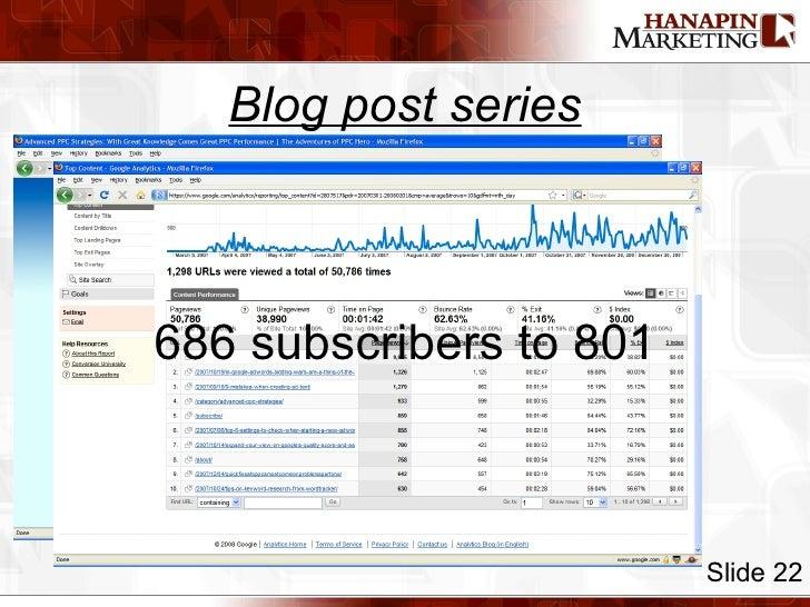 Blog post series Slide 22 686 subscribers to 801