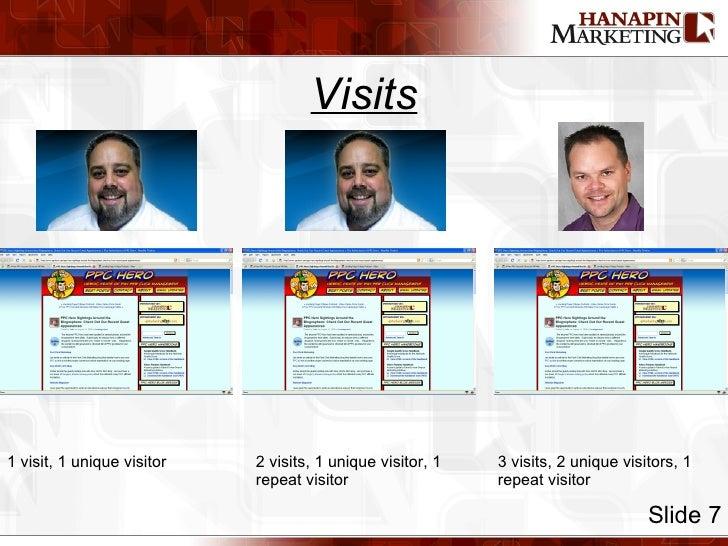 Visits Slide 7 1 visit, 1 unique visitor 2 visits, 1 unique visitor, 1 repeat visitor 3 visits, 2 unique visitors, 1 repea...