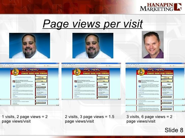Page views per visit Slide 8 1 visits, 2 page views = 2 page views/visit 2 visits, 3 page views = 1.5 page views/visit 3 v...