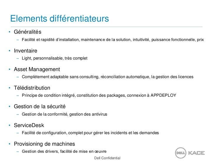 Elements différentiateurs<br />Généralités<br />Facilité et rapidité d'installation, maintenance de la solution, intuitivi...