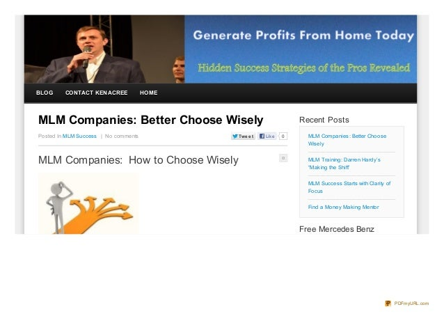 BLOG     CONTACT KEN ACREE            HOMEMLM Companies: Better Choose Wisely                               Recent PostsPo...