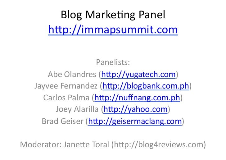 Blog Marketing Panel at the Digital Ripple: 4th Internet and Mobile Marketing Summit 2010