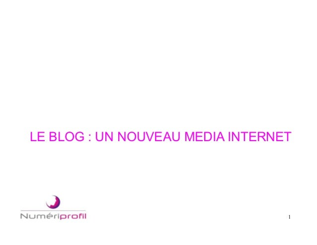 1 LE BLOG : UN NOUVEAU MEDIA INTERNET