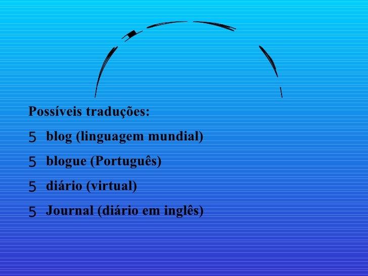 Blog é: <ul><li>Possíveis traduções: </li></ul><ul><li>blog (linguagem mundial) </li></ul><ul><li>blogue (Português) </li>...