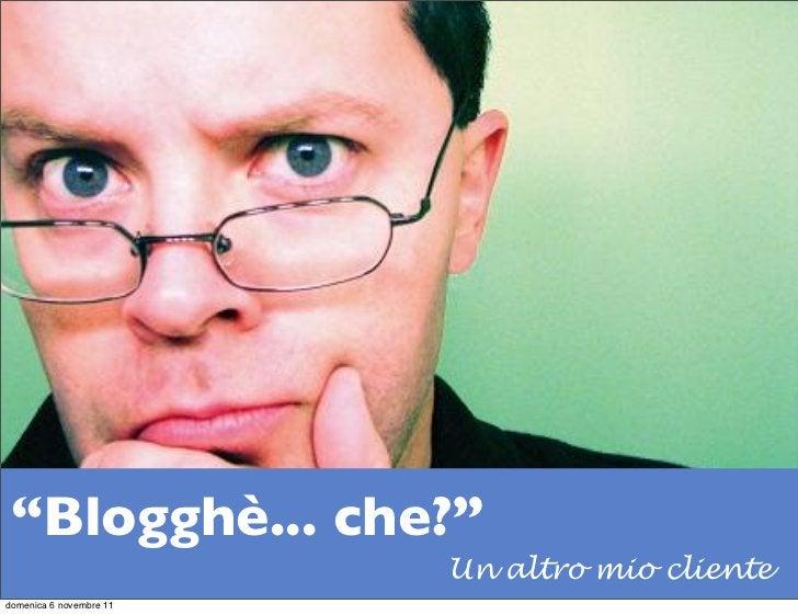 """""""Blogghè... che?""""                         Un altro mio clientedomenica 6 novembre 11"""
