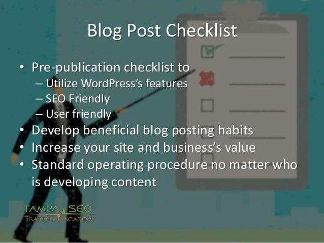 Blog Post Checklist for WordPress Authors Slide 2