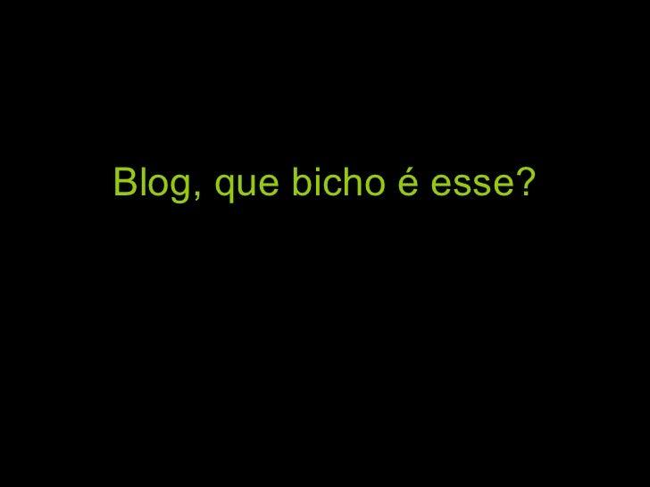 Blog,   que bicho é esse?