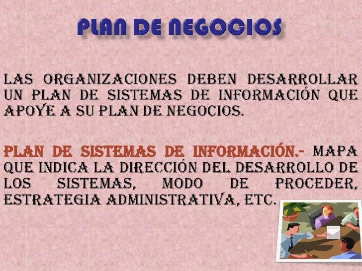 Las organizaciones deben desarrollar un plan de sistemas de información que apoye a su plan de negocios. Plan de Sistemas ...