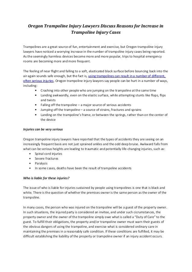 Oregon Trampoline Injury Lawyers Discuss Reasons for Increase in                      Trampoline Injury CasesTrampolines a...