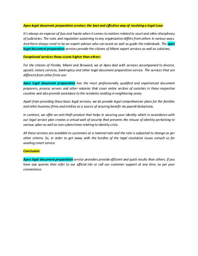 Apex Legal Document Preparation Services The Best And Effective Way - Legal document preparation business