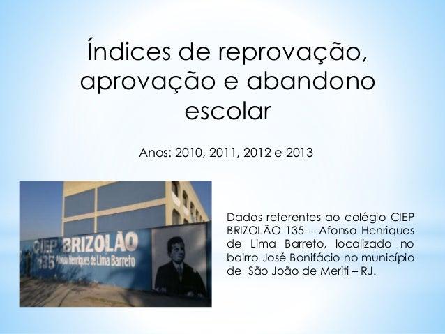 Índices de reprovação,  aprovação e abandono  escolar  Anos: 2010, 2011, 2012 e 2013  Dados referentes ao colégio CIEP  BR...