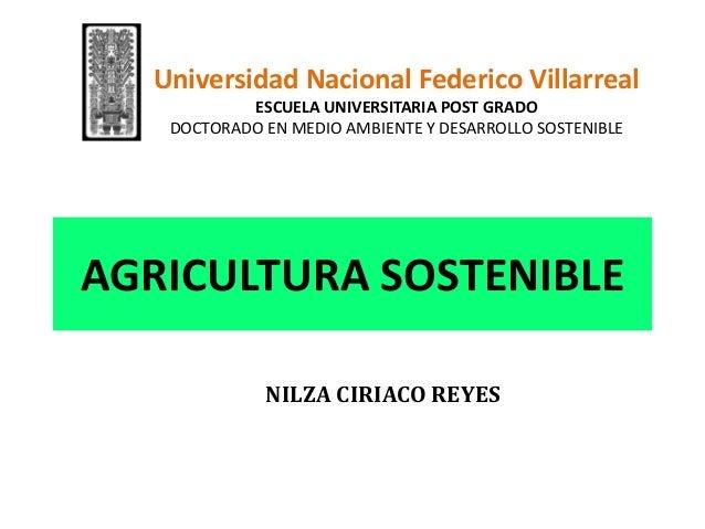 AGRICULTURA SOSTENIBLENILZA CIRIACO REYESUniversidad Nacional Federico VillarrealESCUELA UNIVERSITARIA POST GRADODOCTORADO...