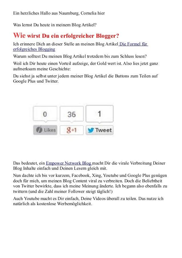 Ein herzliches Hallo aus Naumburg, Cornelia hier  Was lernst Du heute in meinem Blog Artikel?  Wie wirst Du ein erfolgreic...