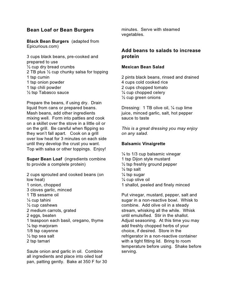 Bean Loaf or Bean Burgers                        minutes. Serve with steamed                                              ...