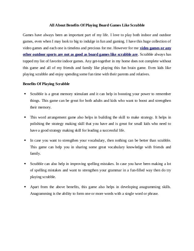 benefits of playing games essay