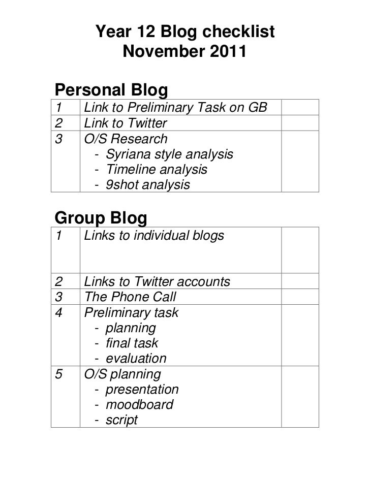 Year 12 Blog checklist         November 2011Personal Blog1   Link to Preliminary Task on GB2   Link to Twitter3   O/S Rese...