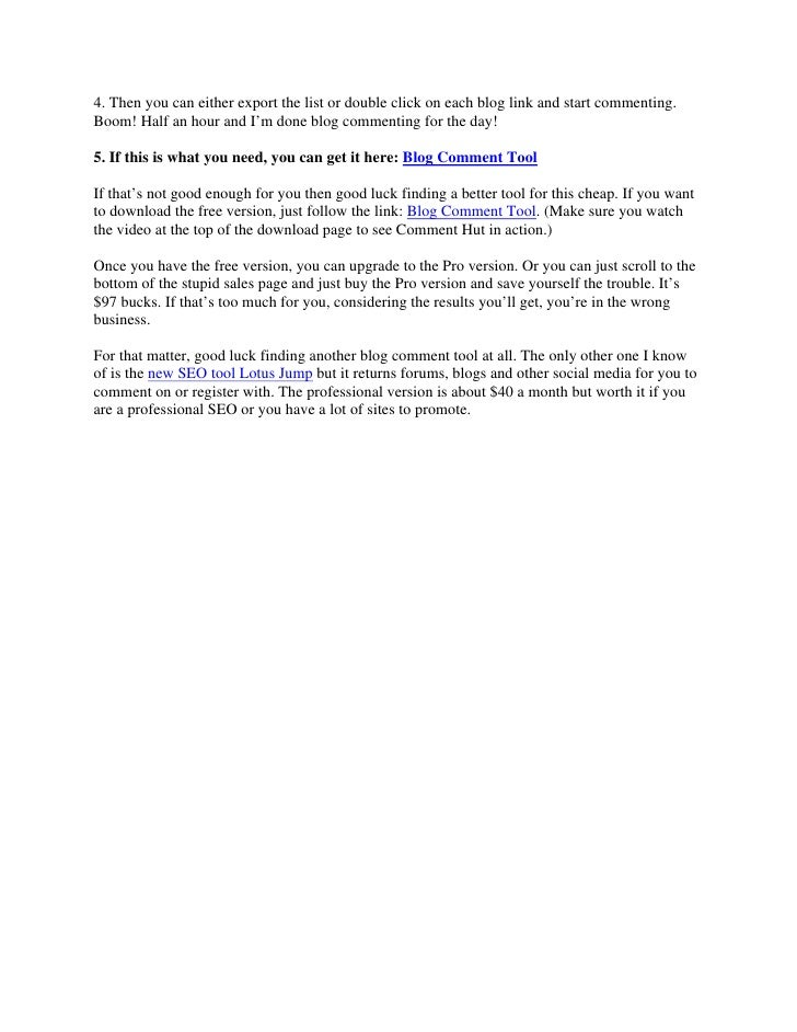 Blog comment tool comment hut review